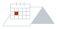 Illustration von Steildach mit weißer Dachfläche und Kalender mit rot markiertem Datum für den Beginn der Dacharbeiten
