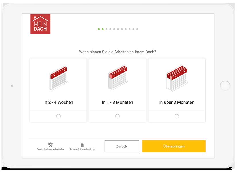 iPad mit MeinDach Dachplaner für die Eingabe der Daten für die Dachsanierung