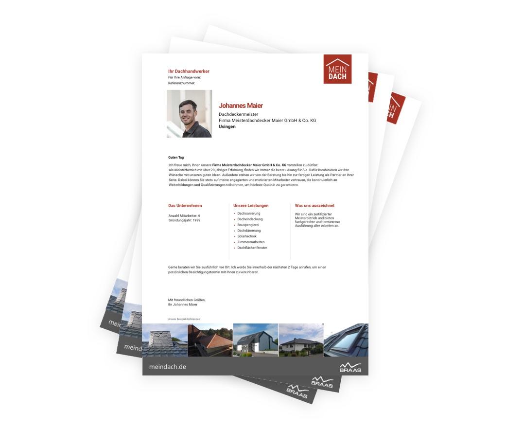 Profil eines MeinDach-Partnerbetriebes für die Suche nach einem passenden Dachdecker